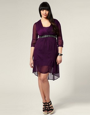 Image 4 ofASOS CURVE V Neck Chiffon Dress