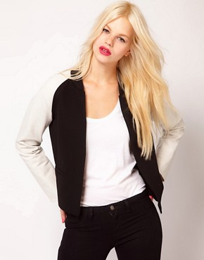Image 1 ofMango Contrast Sleeve Bomber Jacket