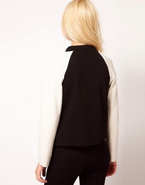 Image 2 ofMango Contrast Sleeve Bomber Jacket
