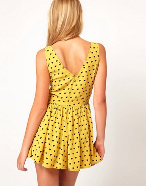 Image 2 ofASOS Flippy Short Playsuit in Heart Print