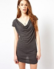 Wal G Knitted Drape Dress With Studded Shoulder