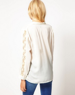 Image 2 ofKova &amp; T Avalon Shirt with Contrast Lace Panels
