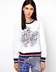 Ostwald Helgason Sea Creatures Jumper with Knitted Cuff and Hem Band