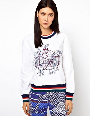 Image 1 ofOstwald Helgason Sea Creatures Jumper with Knitted Cuff and Hem Band