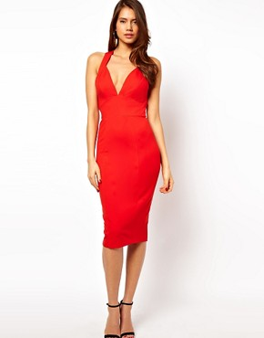 Image 2 ofASOS Deep Plunge Ponte Pencil Dress