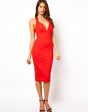 Image 1 ofASOS Deep Plunge Ponte Pencil Dress