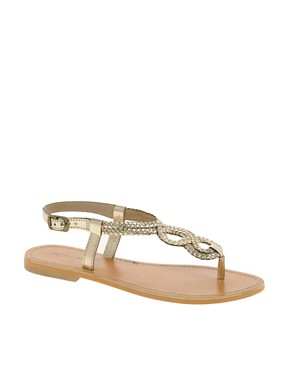 Image 1 ofLondon Rebel Weave Thong Flat Sandal