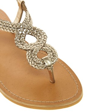 Image 2 ofLondon Rebel Weave Thong Flat Sandal