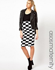 ASOS Maternity Pencil Skirt In Checkerboard