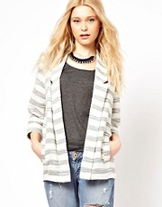River Island Big Stripe Long Line Blazer