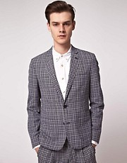 ASOS Slim Fit Check Blazer in Navy