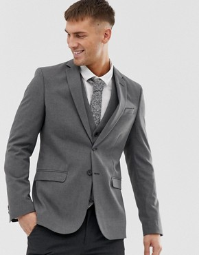New Look Slim Suit Jacket In Grey