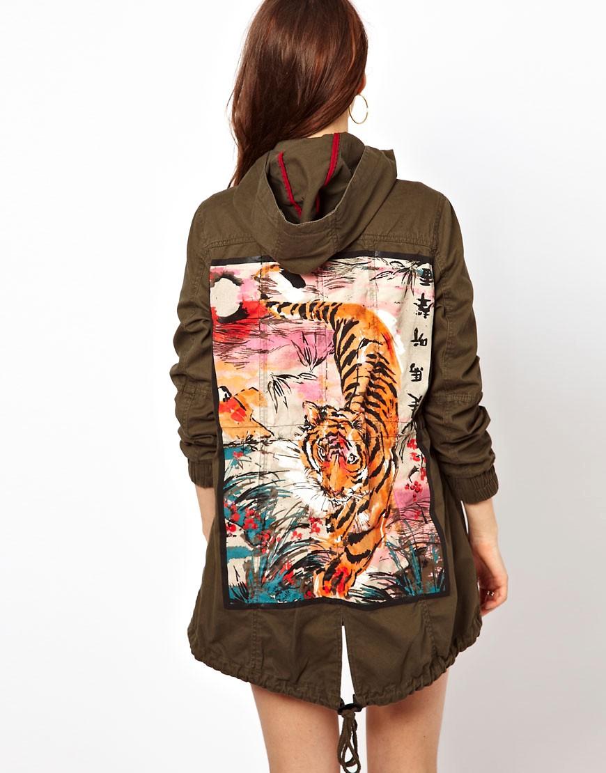 Image 1 ofRiver Island Parka with Tiger Back