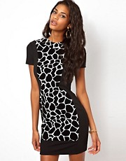 ASOS Giraffe Flock Cut-Out Dress