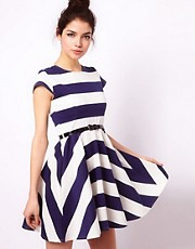 Club L Stripe Skater Dress With Belt