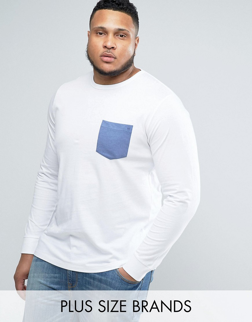 French Connection PLUS Long Sleeve T-Shirt with Pocket - White