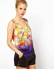 ASOS Vest in Floral Ombre Print with Plunge Neck