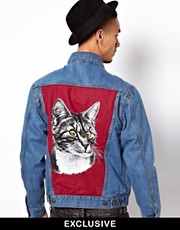 Reclaimed Vintage Denim Jacket With Cat Back Panel