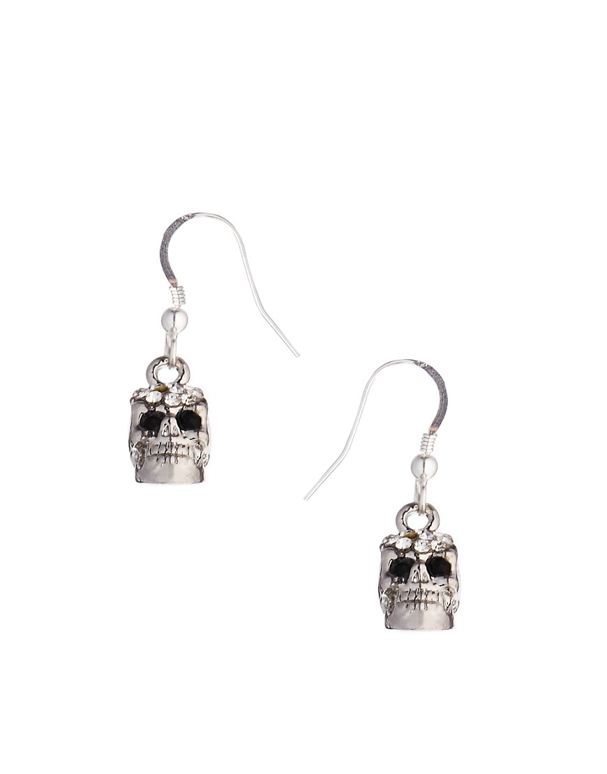 Adele Marie Skull Diamante Fish Hook Earrings - Silver