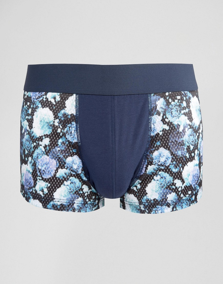 ASOS Hipsters With Printed Floral Mesh - Navy