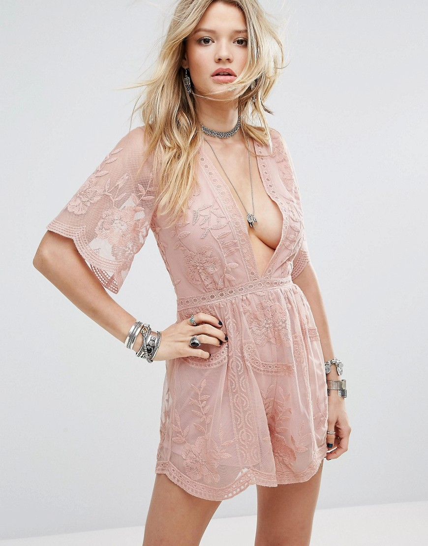 Honey Punch Plunge Front Playsuit In Layered Lace - Blush