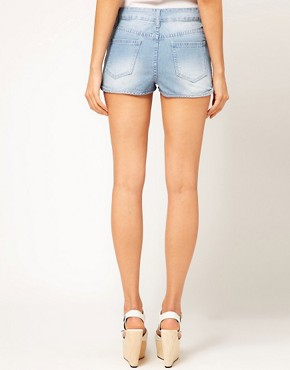 Image 2 ofASOS High Waisted Denim Shorts with Zip Detail