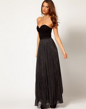 Image 4 ofRare Metallic Skirt Bandeau Maxi Dress