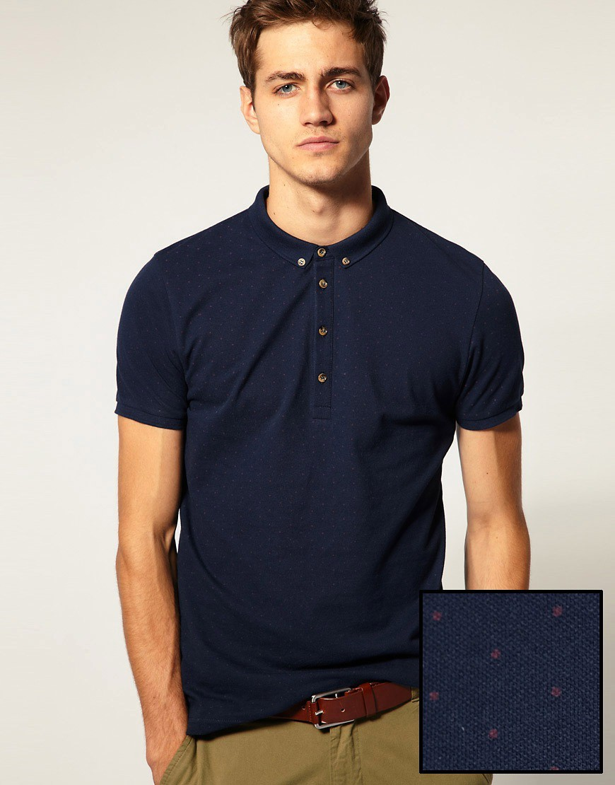 Image 1 of ASOS Polo Shirt With All Over Polka Dot