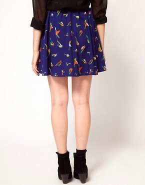 Image 2 ofInfluence Bird Print Mini Skirt