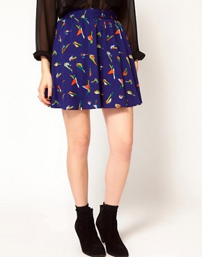 Image 4 ofInfluence Bird Print Mini Skirt