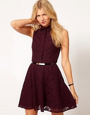Oasis Contrast Lace Fit &amp; Flare Dress