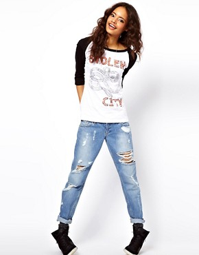 Image 4 ofASOS Top with Stolen City Slogan and Raglan Sleeves