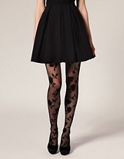 ASOS Flocked Rose Tights
