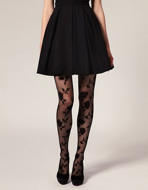 Image 1 ofASOS Flocked Rose Tights
