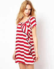 Traffic People Stripe Dress With Ruffle