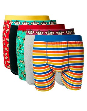 Image 1 ofRiver Island 5 Pack Monkey Trunks