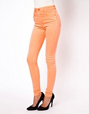 ASOS Ridley Supersoft High Waisted Ultra Skinny Jeans in Neon Orange