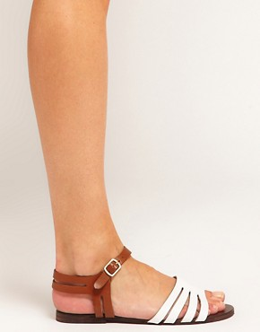 Image 3 of ASOS FIREWORK Leather Flat Sandals