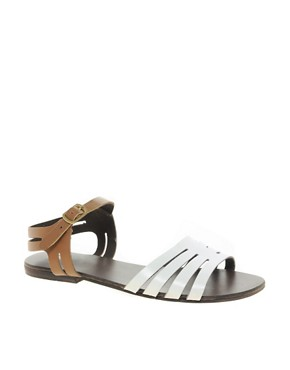 Image 1 of ASOS FIREWORK Leather Flat Sandals