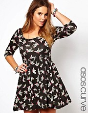 Esclusiva ASOS CURVE - Vestito a pieghe con uccelli stampati