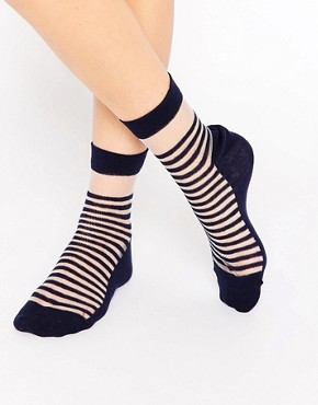 ASOS Bretton Stripe Sheer Ankle Socks