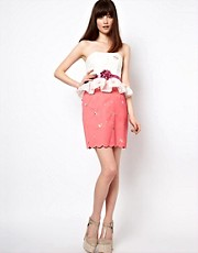 Nishe Skirt With Scallop Hem and Cupcake Embroidery