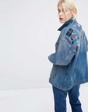 Monki Embroidered Organic Denim Jacket