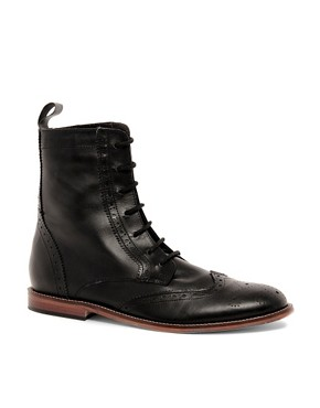 Image 1 ofASOS Brogue Boots With Leather Sole