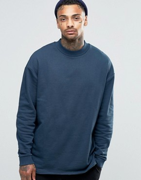 ASOS Oversized Longline Sweatshirt With Storm Flap
