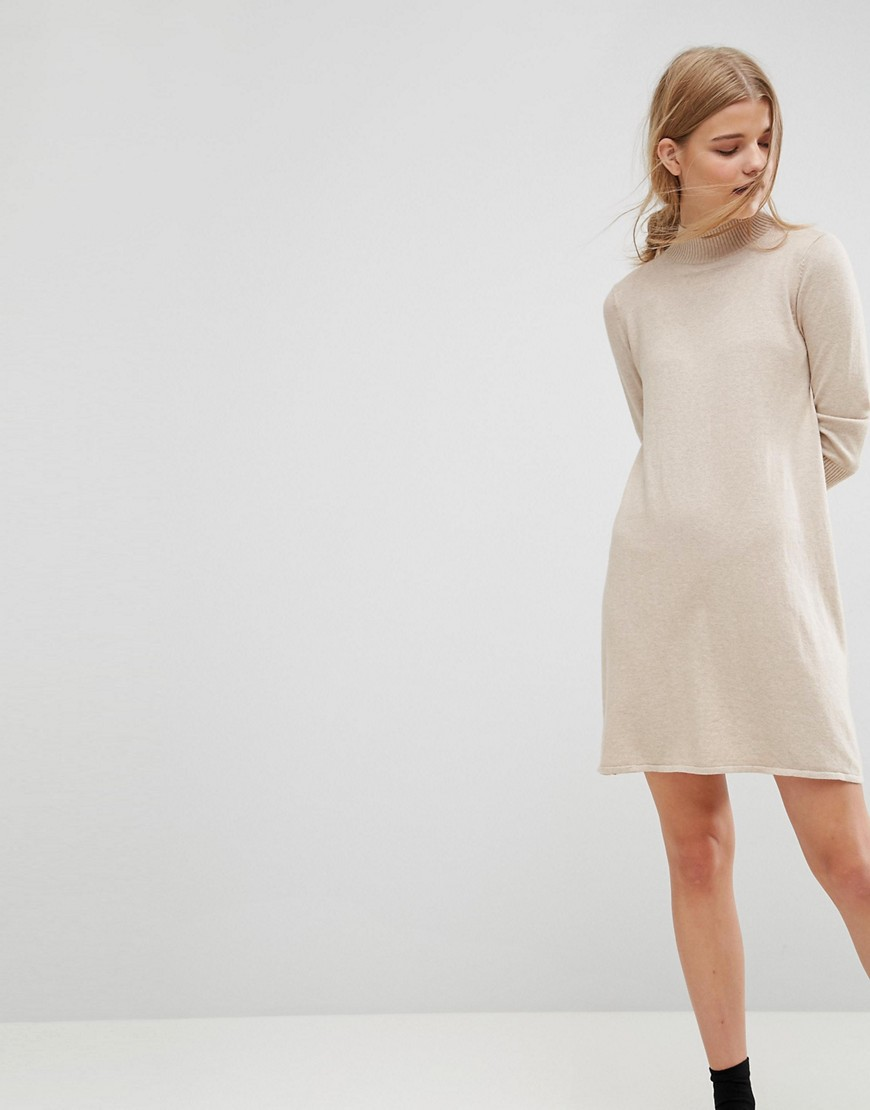 ASOS Dress in Knit with High Neck in Cashmere Mix - Stone