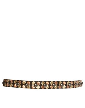 Image 2 ofASOS Stud Flower Detail Skinny Waist Belt