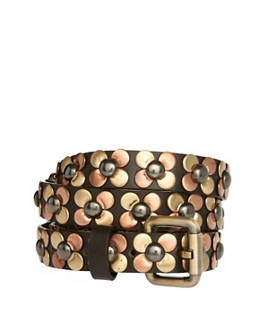 Image 1 ofASOS Stud Flower Detail Skinny Waist Belt