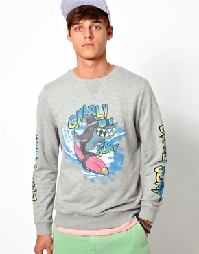Image 1 ofASOS Sweatshirt With Shark Print