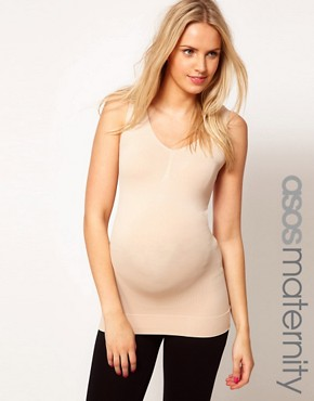 Image 1 ofASOS Maternity Exclusive Seamfree Vest with Support For The Perfect Bump